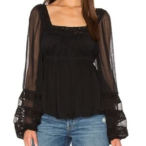 Free People Moon Chaser Peasant Top Black XS NWT